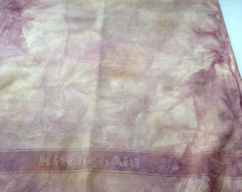 Vintage Linen Hand-dyed with Plants Artist Fabric Quilters Mixed Media