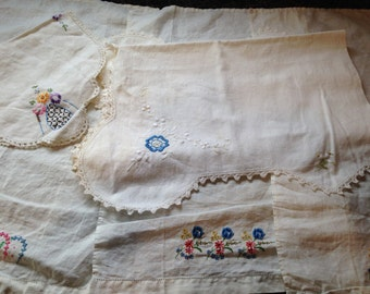 Vintage Linens Lot Grab-bag Hand Embroidery Cotton and Linen Floral on White