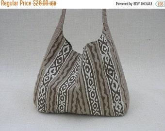 35% Off Women's Messenger Bag Cotton Linen Reversible Handmade Cross Body Bag OOAK