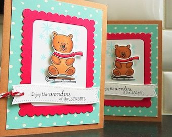 Gift Card Holder, Gift For Mail Carrier, Teacher Gift, Bear Card, Christmas Card, Holiday Card, Gift for Mailman