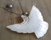 Vintage Mother of Pearl Pendant on Oxidized Sterling Silver Chain // Custom Length // Turtle Dove