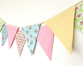 Sweet Baby Fabric Banners, Bunting, Garland, Wedding Bunting, Pennants, Flags, Pink, Yellow, Green, Blue, Peach - 3 yards