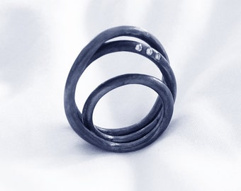 Statement Modern Ring. Sterling Silver Infinity Cocktail Ring with Zirconia. Circuit Collection Handmade Urban Ring