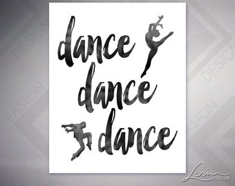 "Dance Dance Dance with Dancer Silhouettes - 8""x10"" Instant Download - Digital JPG File - Ready for You to Print!"