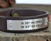 3rd Anniversary Gift Idea For Men - Personalized Mens Latitude Longitude GPS Leather Bracelet - Hand Crafted in USA