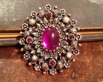 Vintage Purple and Silver Tone Brooch
