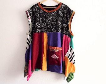 Patchwork Pinafore Tunic. Ethical Vegan Fashion Plus Size Boho Tunic