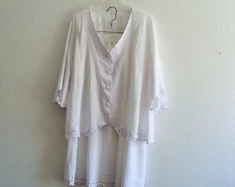 Salle 30% Women White Battenburg Lace  2-piece Skirt Suit Plus Size