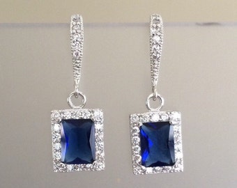 Emerald Cut Sapphire Blue Cubic Zirconia Academies Dangle Earrings - Birthstone Earrings- Bridal Earrings- Wedding Jewelry- Fine Jewelry