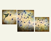 Blue Hummingbird and flowers Original 3 piece painting by Laura Sue