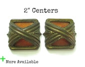 """Pairs of Vintage Brass and Bakelite Drawer Pulls - 2"""" centers Waterfall or Art Deco Furniture Handles - More Available"""