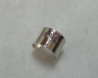 """Handmade Sterling Silver Ear Cuff Gingko Leaf """"Bearer of Hope"""""""