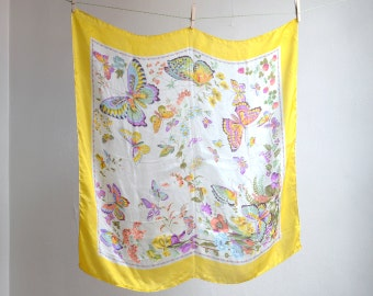 Vintage Butterfly Floral Rolled Silk Scarf Japan