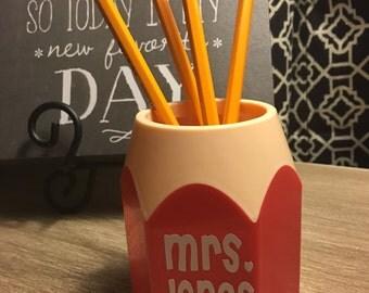 Personalized Pencil Holder - Back To School - Teacher Gift - Teacher Appreciation - Gift For Teacher - Teachers Rock - Teachers Desk