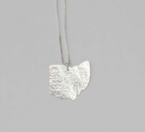 Ohio Necklace. Custom Ohio State Buckeyes Silver Pendant with Heart. I Heart Ohio University Columbus Akron Charm.