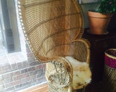 RESERVED Vintage Peacock fan chair// Rattan Highback Chair// Boho Chair