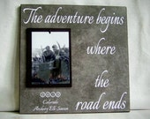 Personalized Adventure Hunting Frame, The Adventure Begins Where the Road Ends, Gift for Husband, Gift for Dad,Outdoorsman,Christmas Gift