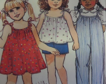 SHOULDER TIE TOP Pattern • Butterick 6570 • Girls 2-4 • Summer Jumpsuit • Sundress • Top and Shorts • Childrens Patterns • WhiletheCatNaps