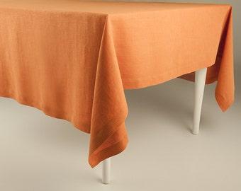 Classic linen tablecloth Rust linen tablecloths Orange soft table linens
