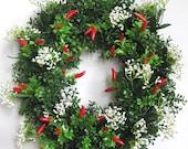 Spring Wreath, Kitchen Wreath, Red Pepper Wreath,  Boxwood Wreath, Easter Wreath, Valentine Wreath, Mother's Day Wreath
