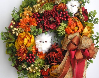 Christmas Door Wreath, Autumn Wreath, Owl Wreath,  Winter Wreath, Thanksgiving Wreath, Christmas Wreath, Red Christmas Wreath