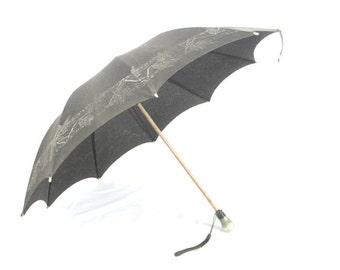 Antique Victorian Mourning Parasol Black Umbrella with Asian Influence Gothic Steampunk