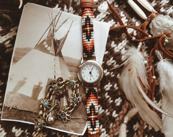 BLW-14,Native American inspired hand-beaded genuine leather watch