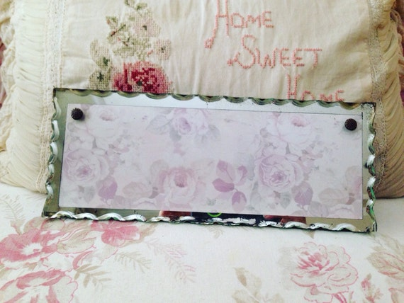Vintage Scalloped Edge Floral Mirror - Shabby Chic Vanity Display