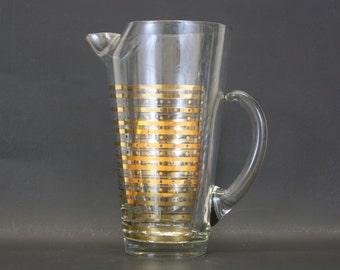 Vintage Large Gold-Striped Pitcher w/Circle Design (E4608)