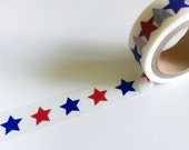 RED & BLUE STARS Washi Tape White Star Pattern Roll Patriotic 4th of July Craft planner crafts planners stickers decorations party sticker