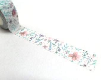 Watercolor Floral Washi Tape,  15mm x 10m