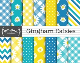 Daisies Floral Digital Paper Commercial Use, Digital Download, Digital Paper Floral, Yellow and Blue Summer Digital Paper