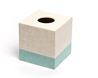 Hesian Aqua Tissue Box Cover wooden handmade in UK