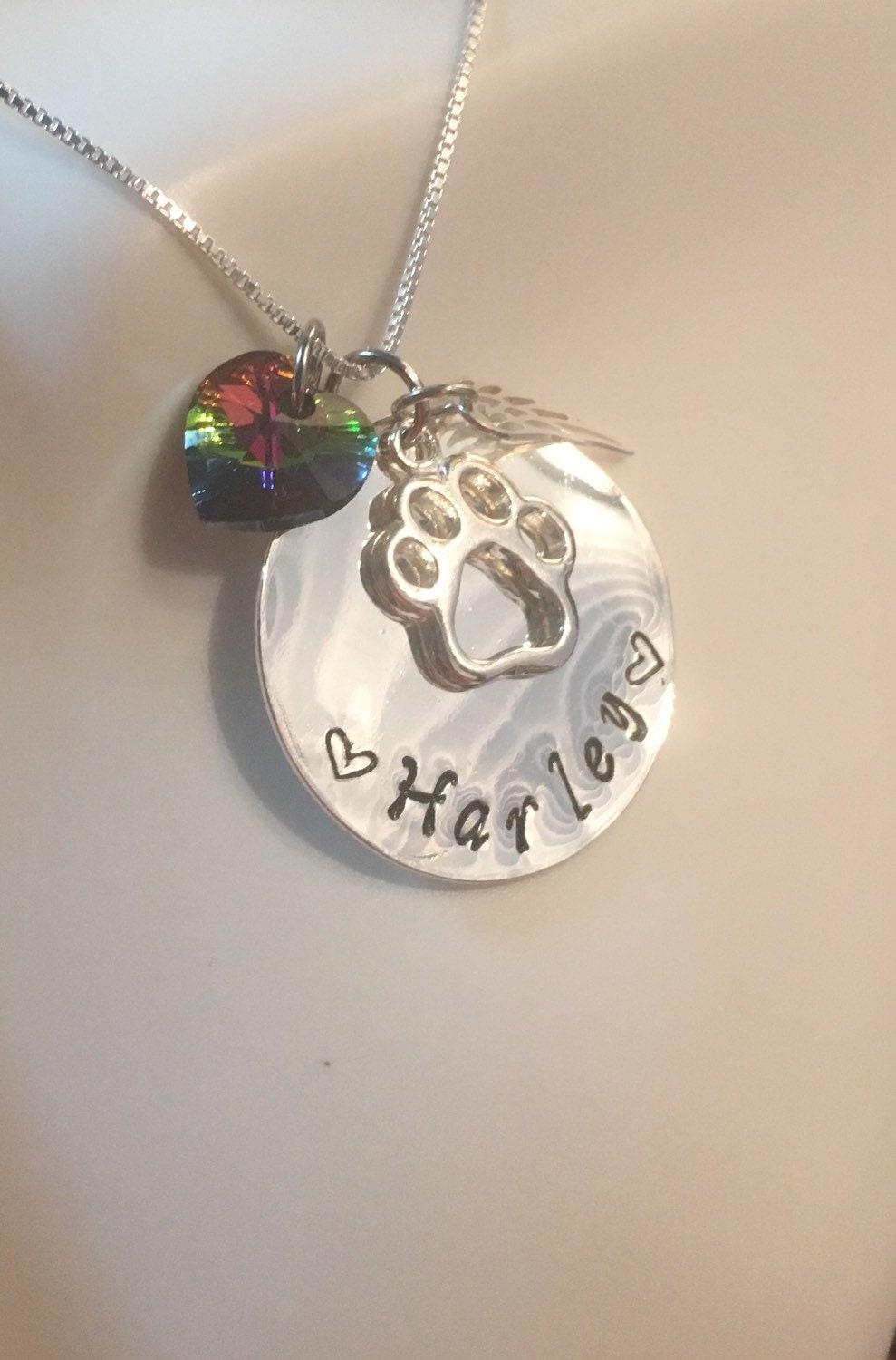 Personalized rainbow bridge pet loss necklace pet loss for Kay com personalized jewelry