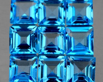 Brilliant Swiss Blue Topaz, Perfectly Matched Faceted Squares 4 MM Priced Per Each