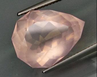 Delicate Pink Faceted Barion Cut, Rose Quartz Pear Shape, 12.34 Carat, 18 x 15 MM , Interesting Color Shift