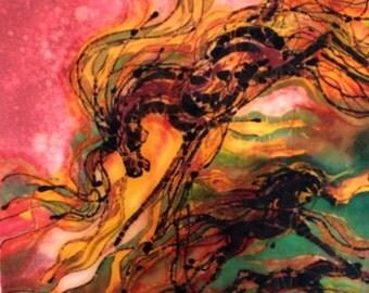 Caught in the Thunderstorm - Spirit Horses -  Very large original batik painting