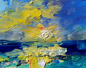 Sunplay , Original Oil Painting Landscape Painting by Claire McElveen 5 x 7