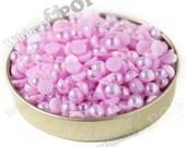 200 - Lilac Purple AB Pearl Flatback Resin Decoden Cabochons, Half Pearl Cabochon, Flat Pearls, 6mm FlatBack Pearls,  Flat Back 6MM (R4-159)