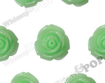 10 - Large Honeydew Green Rose Cabochons, Flower Cabochons, Flower Cabs, 19mm Roses (R6-053)