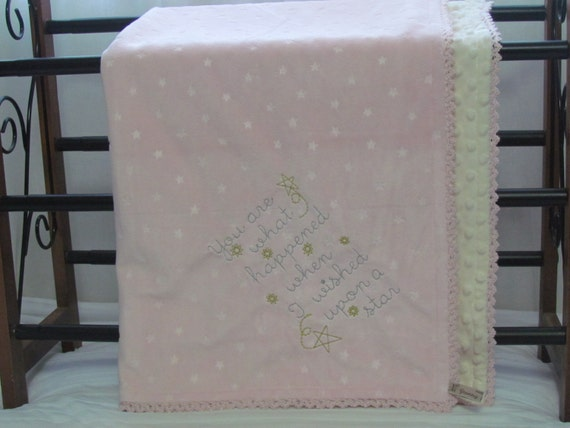 """Embroidered Minky Baby blanket -30"""" x 36""""- """"You are what happened when I wished upon a star""""- baby blanket- minky blanket- star mink blanket"""
