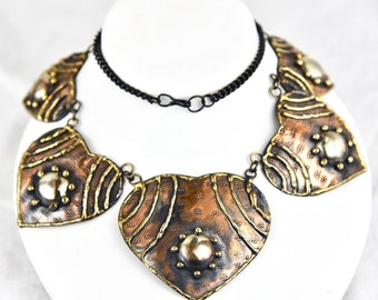 Mixed Metal Copper, Brass & Silver 1940's Studio Artist Handmade Leaf Chunky Runway Necklace