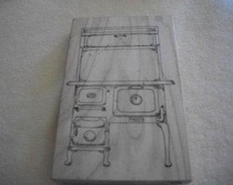 Vintage Wood Cook Stove Rubber Stamp