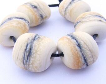 Cream lampwork beads - etched stoneground hagstone glass bead set of 6