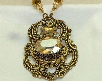 Vintage Victorian Steampunk Antique Luggage Tag Swarovski Crystal Focal Pendant Necklace