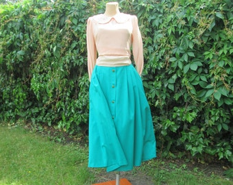 Green Skirt Vintage / Full Skirt / Size EUR46 / UK18 / Side Pockets