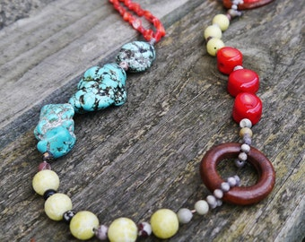 Tribal Ethnic Gemstone Medley Boho Necklace with Turquoise, Coral and Jade