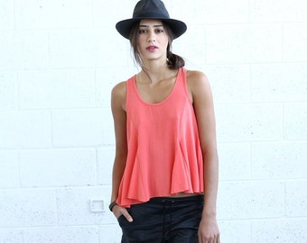 Summer Sale Sale!Flare Tank Top, Coral