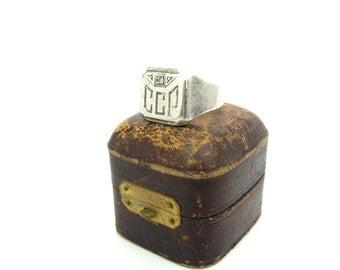 Monogram Signet Ring. Art Deco Initials, Engraved CCP. Geometric, Genuine Diamond, Sterling Silver. Vintage 1930s Art Deco Jewelry. SZ 9.5