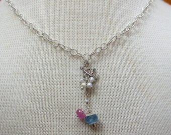 "Vintage Sterling ""Baby"" Necklace with Pearls"